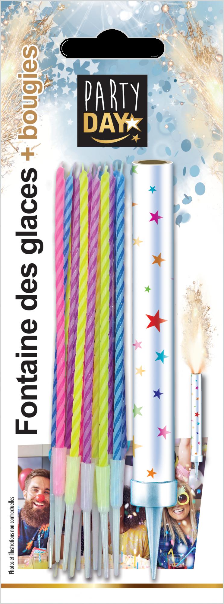 P166100-FONTAINE DES GLACES + BOUGIES MULTICOLORES