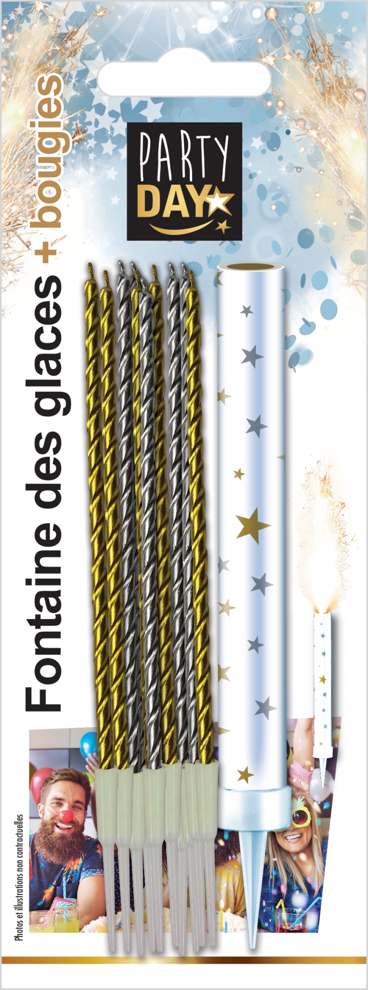 P166105-FONTAINE DES GLACES + BOUGIES OR & ARGENT